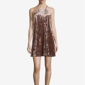 Design Lab Blush Crushed Velvet Shift Dress Sz M